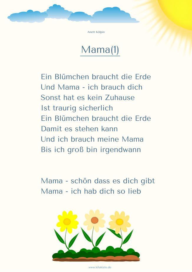 "Gedicht 1 Muttertag ""Mama"" Kita"
