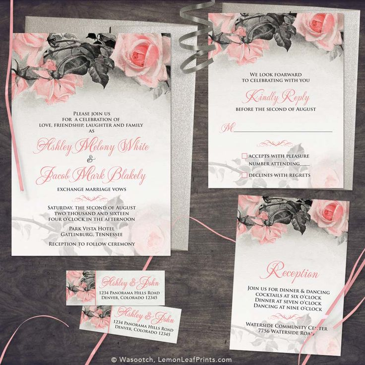 Blush pink, grey vintage rose illustration wedding invitation set. Perfect for a winter, spring, or summer wedding.