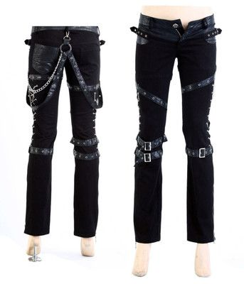 *FREE SHIPPING* Visual Kei Rock Goth Kera Rock Punk rave Pants Trousers S-2XL