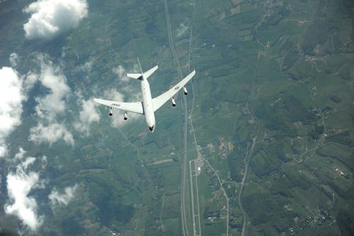An E-8C Joint Surveillance Target Attack Radar System pulls away after refueling from a KC-135 over the East Coast. The E-8C is an airborne battle management command and control intelligence surveillance and reconnaissance platform. Its primary mission is to provide theater ground and air commanders with ground surveillance to support attack operations and targeting that contributes to the delay disruption and destruction of enemy forces. (U.S. Air Force photo/Master Sgt. Jeremy Lock)