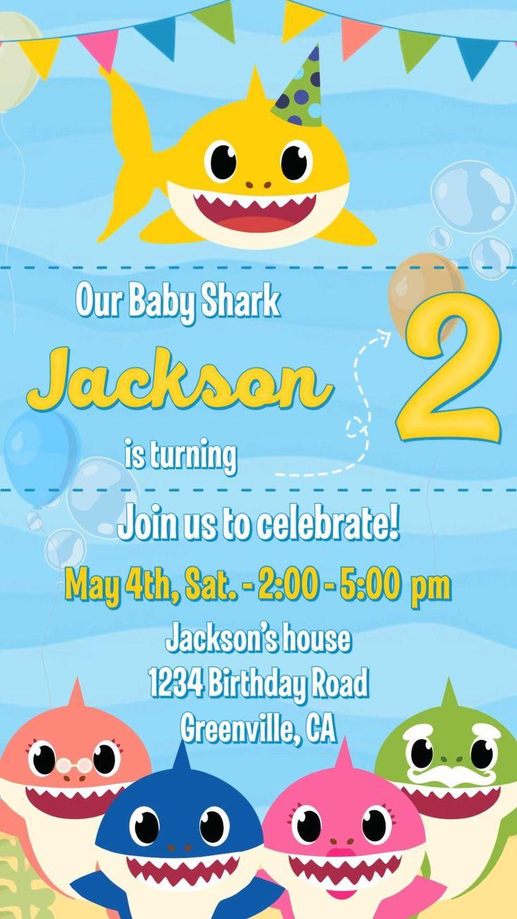 Baby Shark Birthday Invitation Video Animated Card in 2020