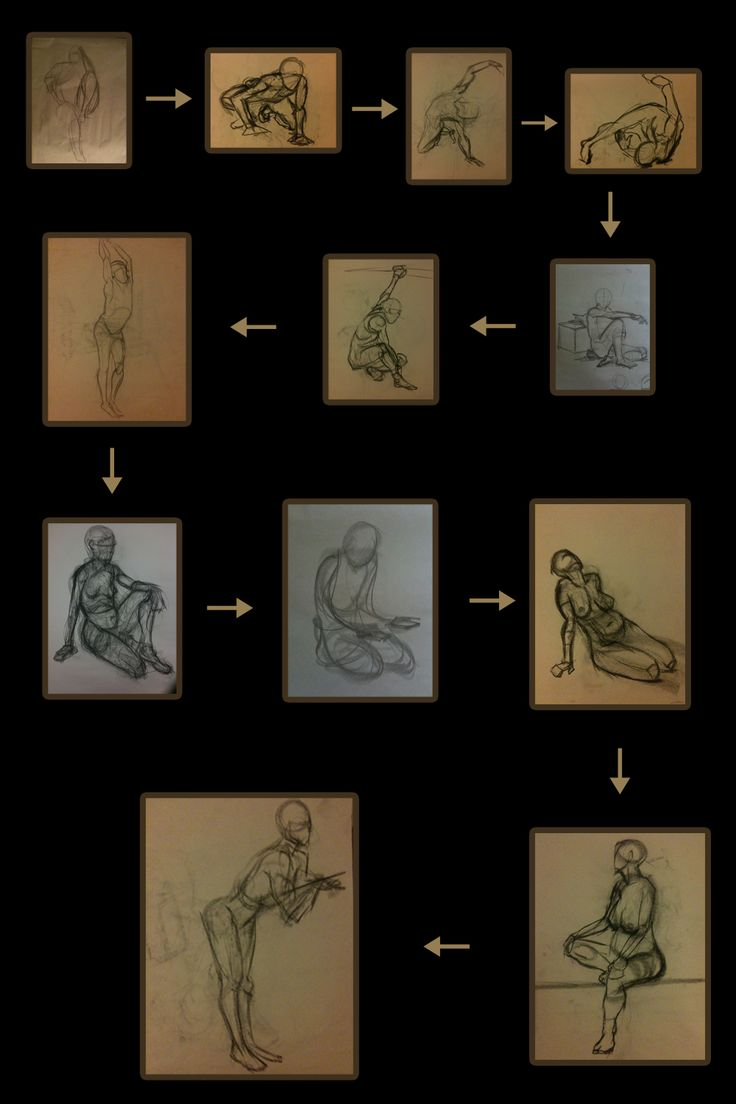 Studying form from life at different figure drawing sessions and the steps I took in order to figure out what form is and what gesture is.  First drawing was done at the beginning of 2010.