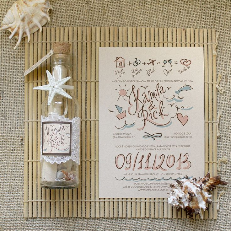 ? A sua família e amigos vai adorar este convite especial na garrafa _____________________________________ Items incluso: *Garrafa de vidro 17-18 cm de altura *Rolha *7 conchas branco/creme ou areia *Convite com impressão colorida, amarrado com fita de cetim para retirá-lo da garrafa. *...