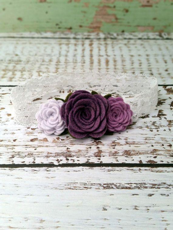 Feltro fiore fascia  lavanda viola Rose Fascia  bambino