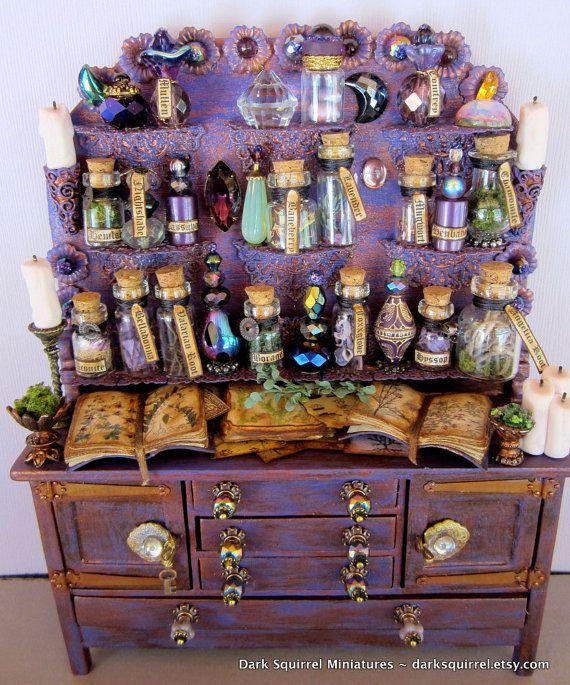 The Herbalist ooak Cupboard dollhouse miniature in by DarkSquirrel, $125.00