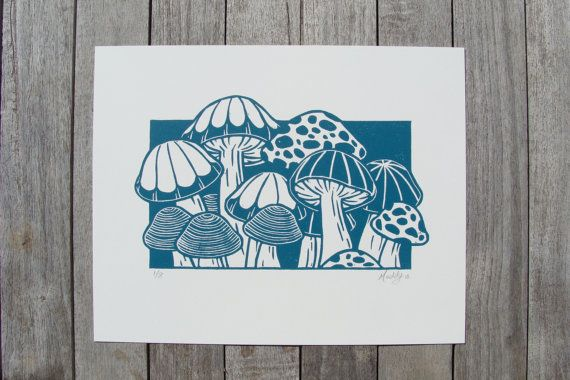 The Mushroom Patch Linocut Relief Printmaking Hand by StrayCloud