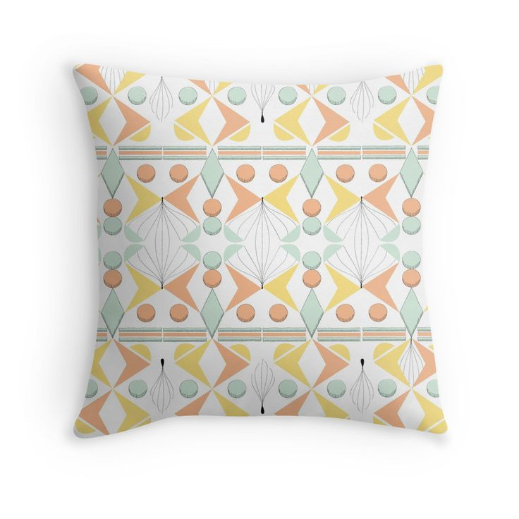 """""""Geometric Pastel Pattern"""" Throw Pillows by Elle Fennah 