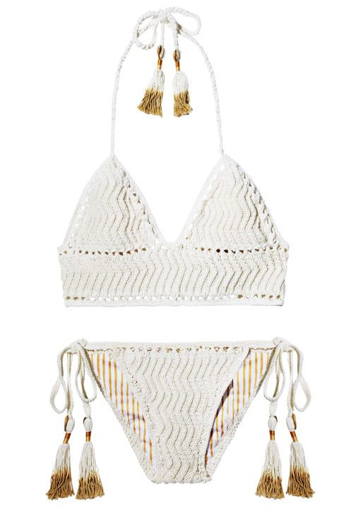 Travel essentials for a long summer weekend getaway: She Made Me white crocheted tassle bikini