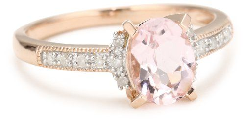 Rose Gold Plated Sterling Silver Morganite and Diamond Ring (0.14 Cttw, G-H Color, I2-I3 Clarity)