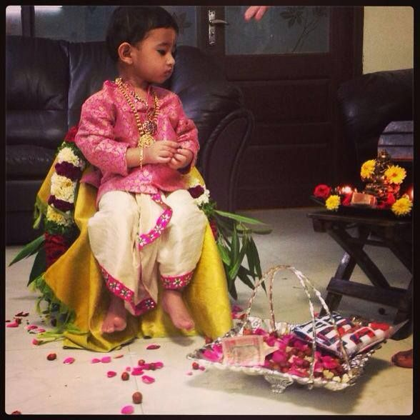 White dhoti with pink border and pink embroidered sherwani or kurta for baby boys! Kids collection. Golden Threads by Kavita and Dhanya Gutta.