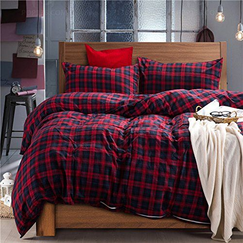 deep sleep home cotton flannel fabric 300 thread count percale dark red blue plaid design duvet cover set christmas gift wrinkle resistance fullqueen