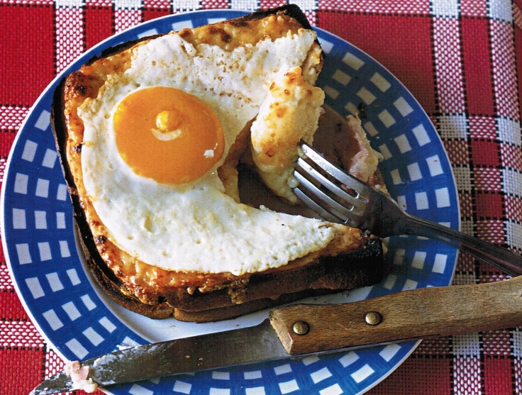 A croque-monsieur served with a fried egg or poached egg on top is known as a croque-madame.                                                                            A croque-monsieur is a hot ham and cheese (typically emmental or gruyère) grilled sandwich.                                                Versions of the sandwich with substitutions or additional ingredients are given names modelled on the original croque-monsieur, for example:  croque provençal (with tomato)  croque…