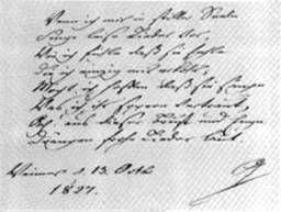 Goethe an Fanny Mendelssohn, 1827