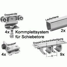 Schiebetore-Shop.de - Schiebetorbeschläge - Laufschienen & Befestigungen - Doppelwandbefestigung mit und ohne Abstand, verzinkt