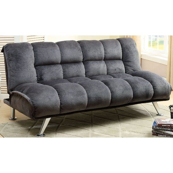 Champion fabric futon captures a contemporary essence of style and chrome legs add extra style support. It smoothly converts into a bed, fits comfortably for two, and offers extra folding legs for added stability. You can also match this comfortable futon sofa with A&J Homes Studio tufted champion fabric accent chair to complete a chaise set.