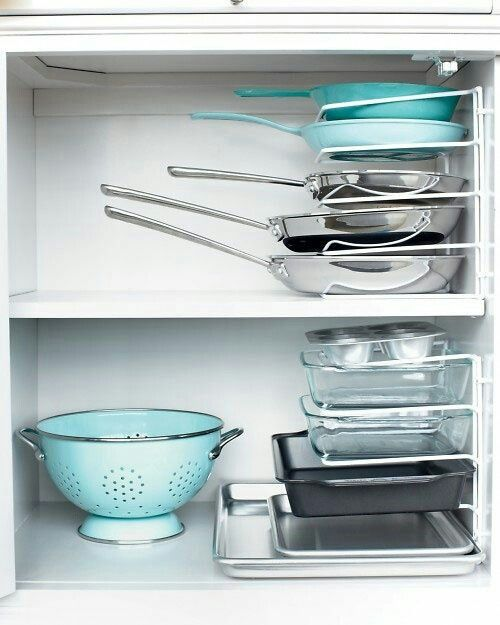 Add racks to inside of cabinets to stack pots and pans such a space saver!