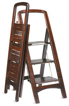 Wooden Stepladder   Traditional   Ladders And Step Stools   FRONTGATE