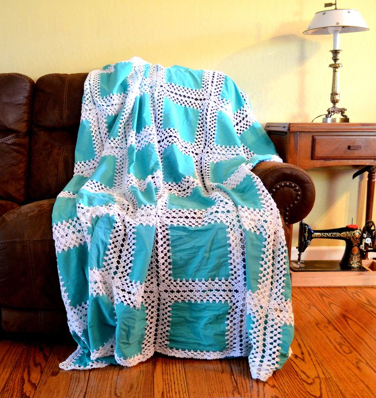 Vintage Fusion Quilt, Teal Green Fabric with White Crochet, Pieced Bedspread / Coverlet, Double Bed Size, circa 1960s by UpswingVintage on Etsy