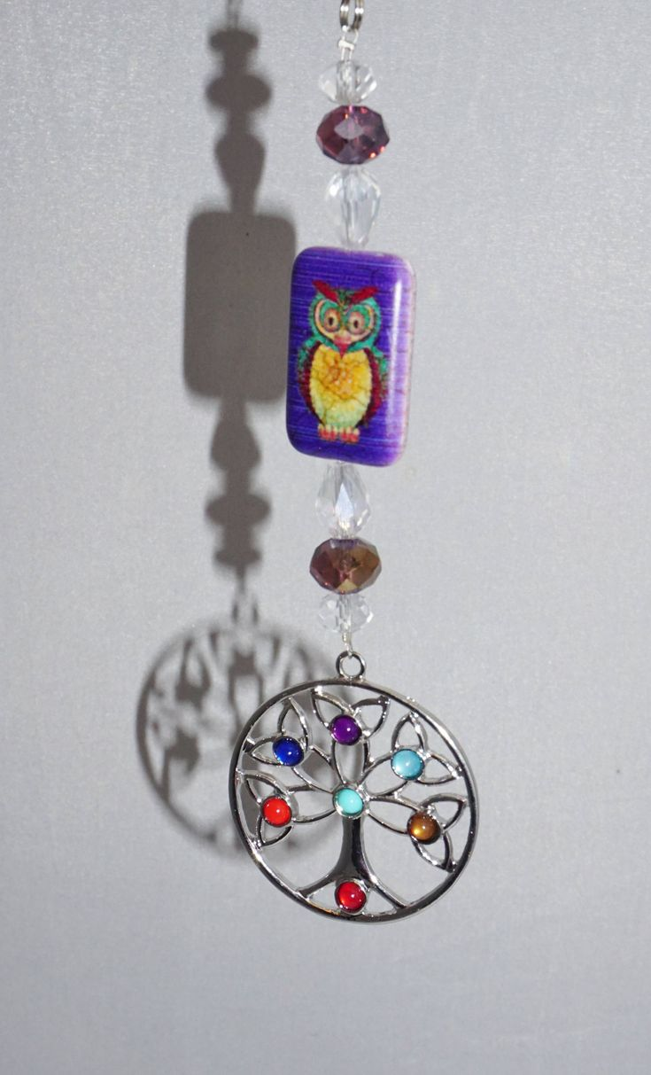 Large Tree of Life Chakra Pendant,  Owl Focal,  Rear View Mirror Suncatcher,  Unique Gift Ideas,  Owl Car Mirror Charm by EarthDreamsbySunLi on Etsy