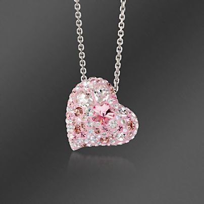 """""""I purchased this Swarovski multi-pink crystal heart for my sister. She was diagnosed with cancer this year. She loves all things pink and also, nothing brings her joy like receiving a piece of jewelry. The incredible sparkle of these pink crystals will match the sparkle in her eyes."""" -Passion4jewelry, Charlotte, NC >>Click on the Swarovski Crystal """"Alana"""" Heart Pendant Necklace to learn more. #swarovski #heart #pendant #necklace #pink #breastcancer #sparkle"""