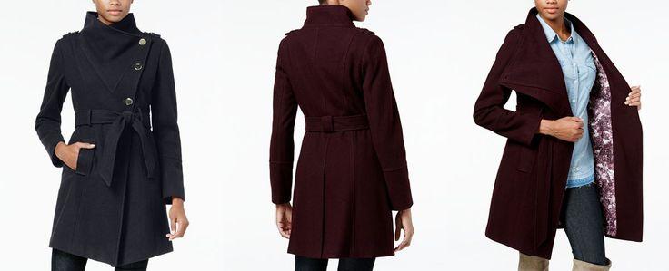 GUESS Asymmetrical Belted Walker Coat - Coats - Women - Macy's