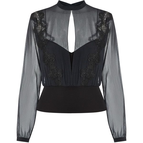 La Perla English Rose Black Long Sleeved Silk Chiffon Blouse with... ($750) ❤ liked on Polyvore featuring tops, blouses, rose top, see through tops, silk chiffon blouse, see through blouse and long sleeve blouse
