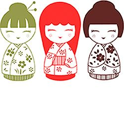 Japanese Dolls Rubber Stamp Set