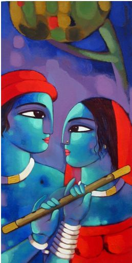 When it's destined for souls to meet, there's nothing on earth that can stop them from becoming one no matter may come. Decorate your walls with beautiful painting of eternal love between a couple by Sekhar Roy. Explore our Indian art gallery online and be the owner of this beautiful painting.