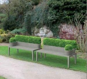 Totally green benches.