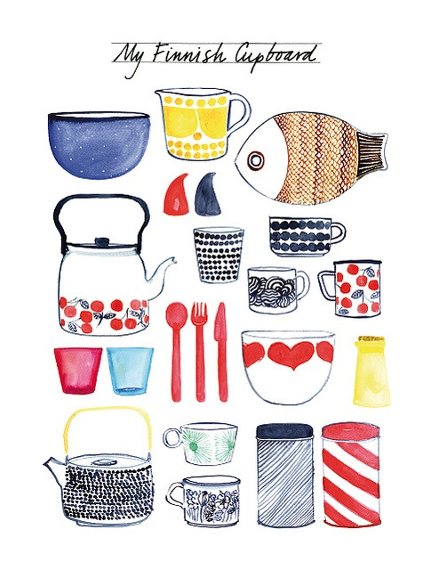 Finnish cupboard by miss Capricho, via Flickr - Spot the Iittala and Marimekko crockery!