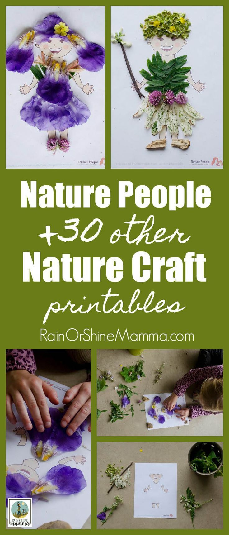 Nature People and 30+ Other Nature Craft Printables. This printable pack is the perfect art and craft activity using only natural materials. Fun for preschoolers as well as kindergarteners and grade schoolers. Get the printable pack and JUST ADD NATURE!