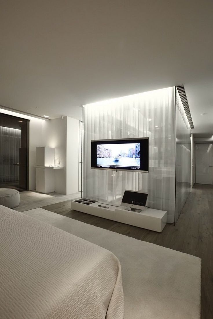 TV Mounted On Glass Nice Floor Material Change Too Modern BedroomsModern Master