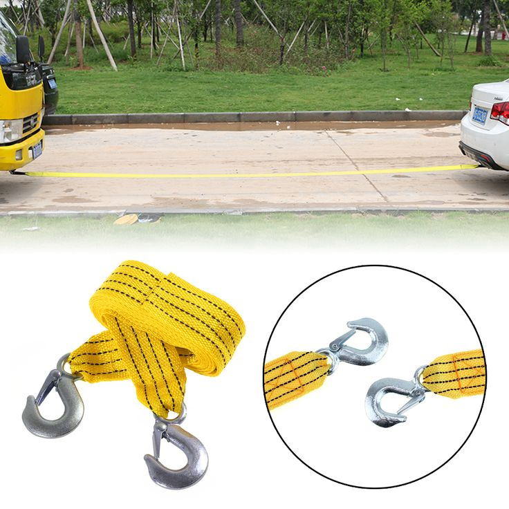 45mm 3 Tons 4 Meter Flsorescence Vehicle Car Tow Cable Towing Strap Rope With Hooks