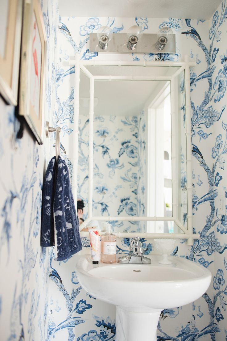 White and blue powder room features walls clad in trim molding framing - Best 25 Blue And White Wallpaper Ideas Only On Pinterest Blue And White Blue Bathroom Interior And Powder Room Wallpaper