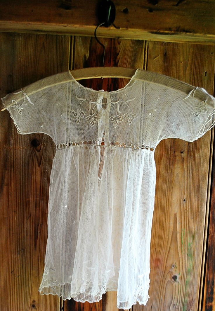 Rare and delicate vintage 1920s tulle and embroidery baby gown approx. age 6-9 months