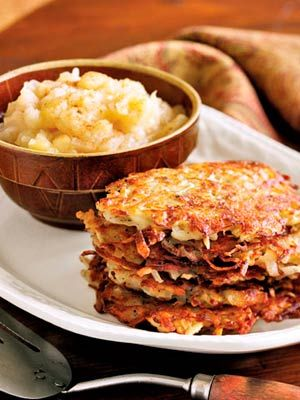Golden fried potato pancakes receive a boost from freshly grated nutmeg. Recipe: Potato Pancakes with Nutmeg   - CountryLiving.com