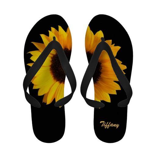 Stunning Sunflower Custom Flip Flops