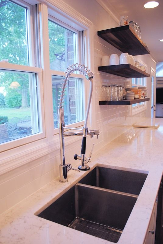 Collamore Built | Residential Design & Construction: Industrial Commercial Kitchen Faucet with Open Shelves and Undermount Sink