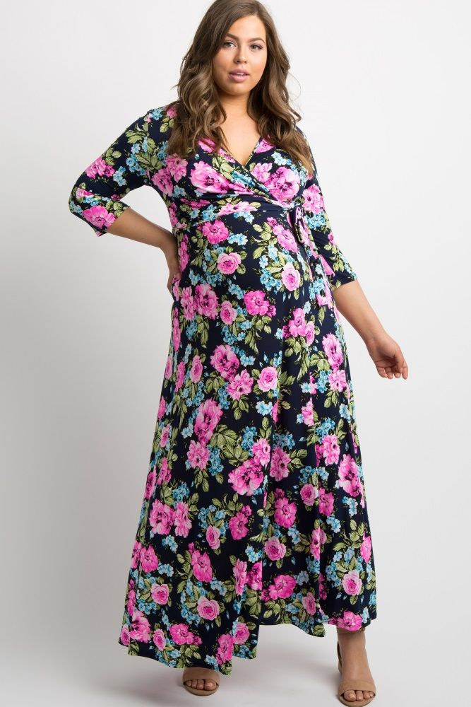 357605bd4556e A printed plus maternity maxi dress. Draped v-neckline. Perfect for nursing  after pregnancy. Cinched at waist. Sash tie. 3/4 sleeves.