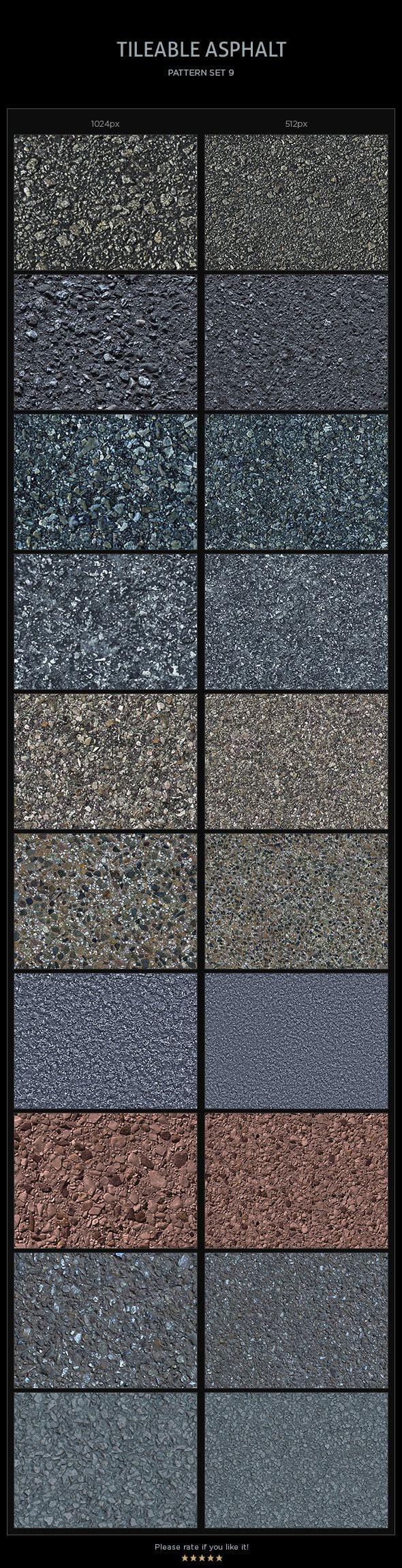 10 Tileable Asphalt Textures/Patterns by SigerG This pack comes with 20 seamless Asphalt patterns.1 .PAT file with 20 Asphalt patterns (1024px, 512px) 20 .JPG files containing th