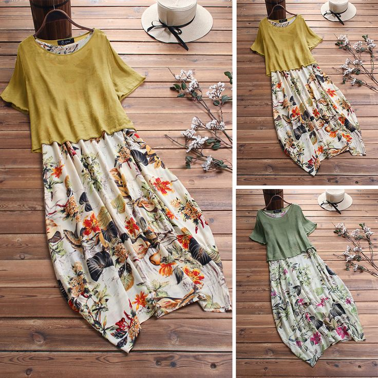 O-NEWE Vintage Patchwork due pezzi Plus Size Maxi Dress con tasche - NewChic Mob... 1