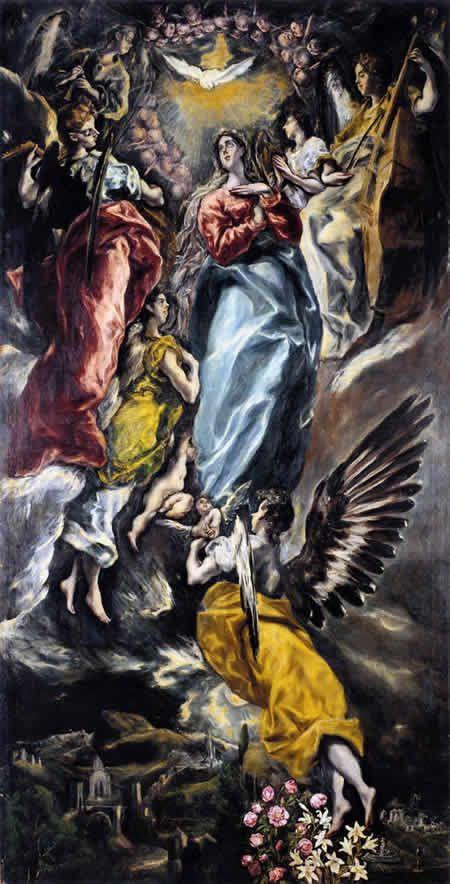 El Greco Famous Artwork   エル・グレコ「無原罪の御宿り(お宿り)」 1607-13