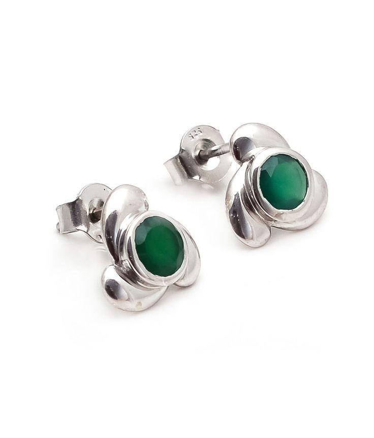 Greenonyx Earring Natural Gemstone Bezel Set in Solid 925 Sterling Silver (SDE3) #Rananjay #StudEarrings