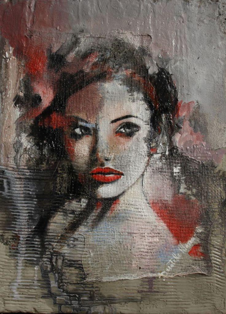 Are you talking to me? (Pittura),  30x40x4 cm da Donatella Marraoni Dipinto su tela con olio tessuto e cemento