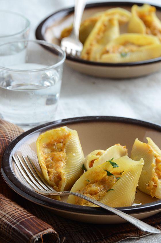Savory Pumpkin & Cheese Stuffed Shells by anediblemosaic #Psta #Shells #Pumpkin #Cheese