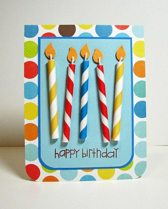 carte d'anniversaire colorée, une carte happy birthday