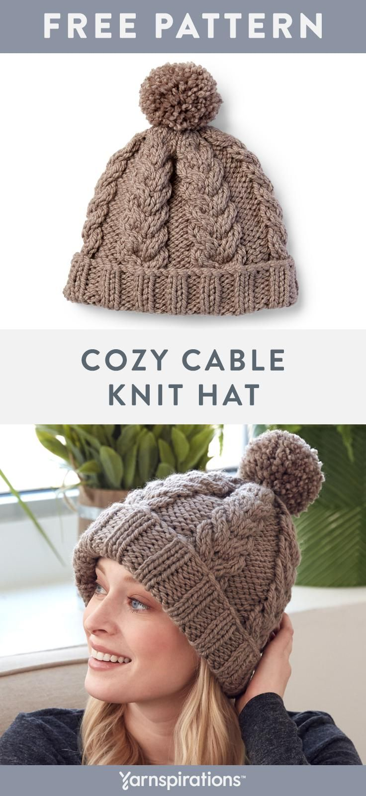 This Cozy Cable Knit Hat Pattern Works Up Fast With Super Bulky Bernat Softee Chunky Yarn Y Cable Knit Hat Pattern Beanie Knitting Patterns Free Knitted Hats