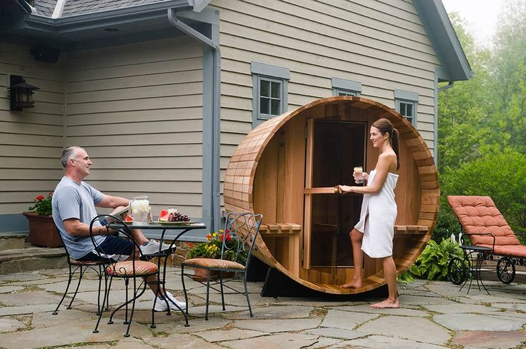 We couldn't think of a better way to begin a relaxing Sunday at home! 2-6 person canopy barrel sauna from Almost Heaven. Available 24/7 from windsurfandsail.com