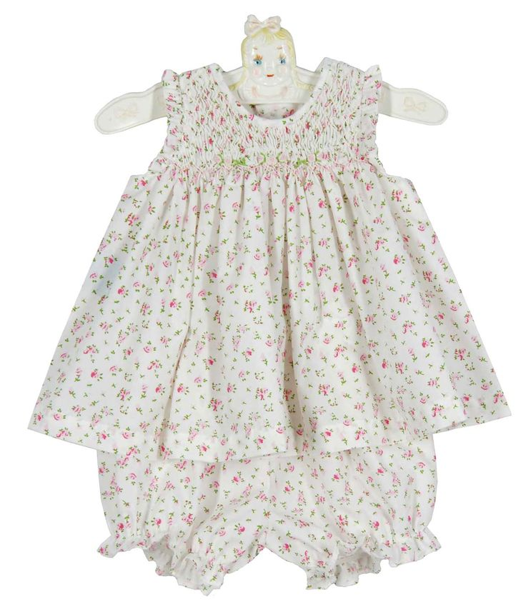 NEW Remember Nguyen (Remember When) Rosebud Print Smocked Dress with Matching Diaper Cover $35.00