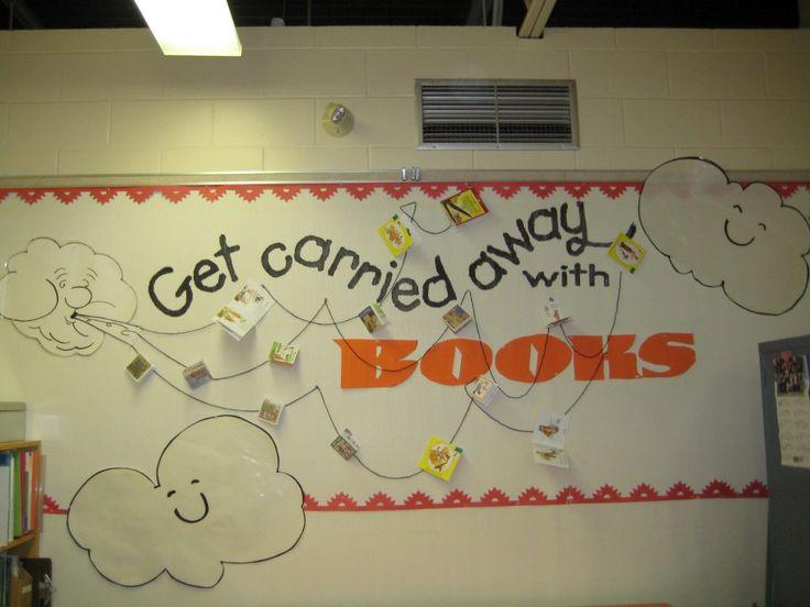 #bulletin boards: Books Covers, Hot Air Balloon, Reading Bulletin Boards, Libraries Bulletin Boards, Art Bulletin Boards, Fall Bulletin Boards, Libraries Decor, Barbra Hesson, Boards Ideas